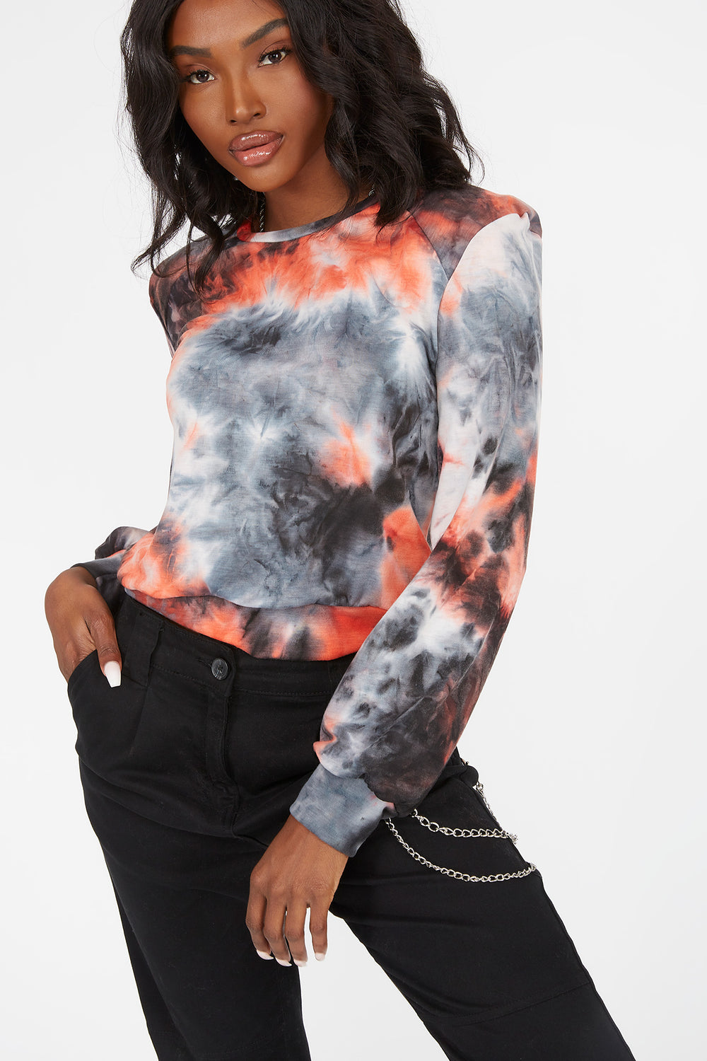 Tie-Dye Power Shoulder Long Sleeve Top Orange