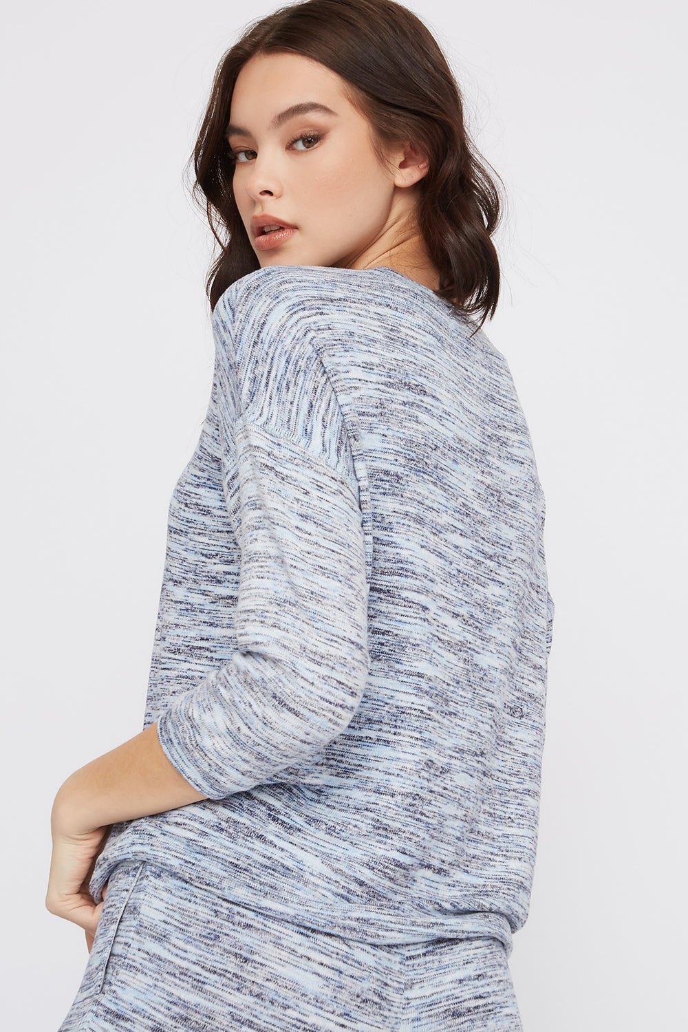 Soft Space Dye Drawstring Sweater Light Blue