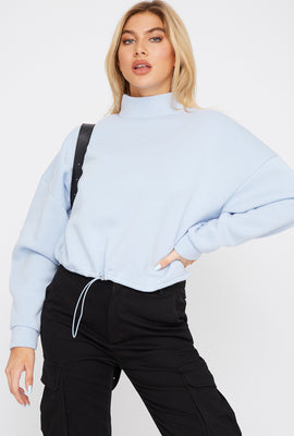 Mock Neck Drawstring Sweater