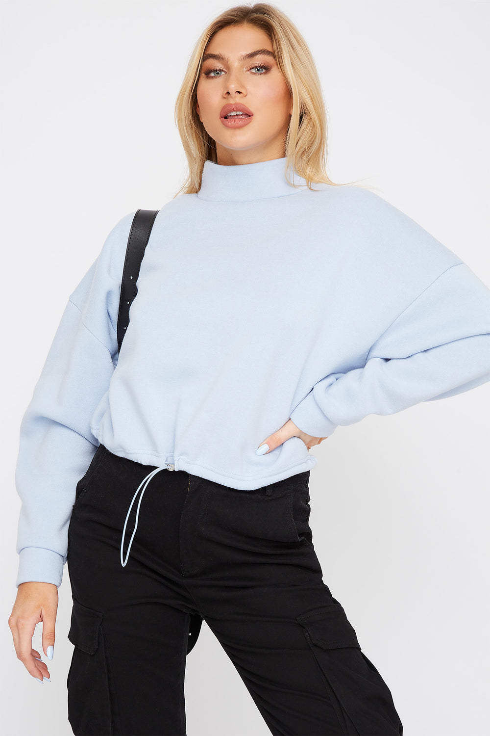 Mock Neck Drawstring Sweater Light Blue