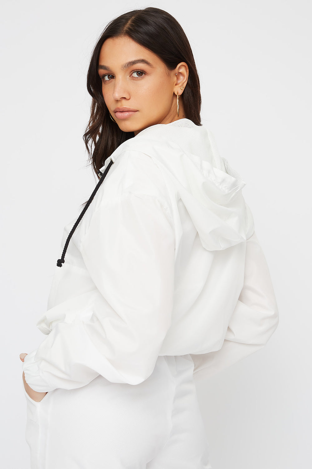 Anorak Windbreaker Pullover White