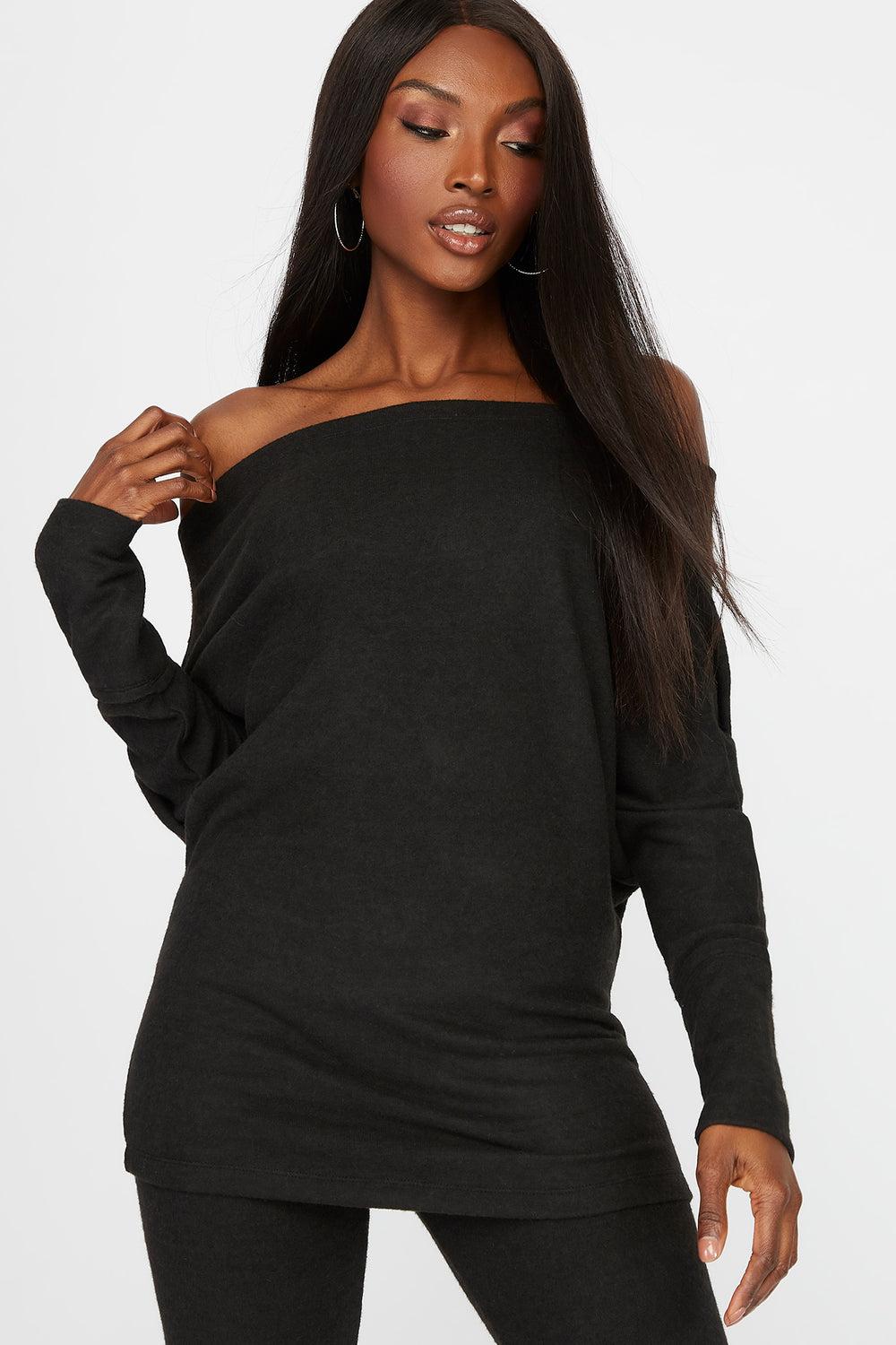 Off the Shoulder Brushed Long Sleeve Black