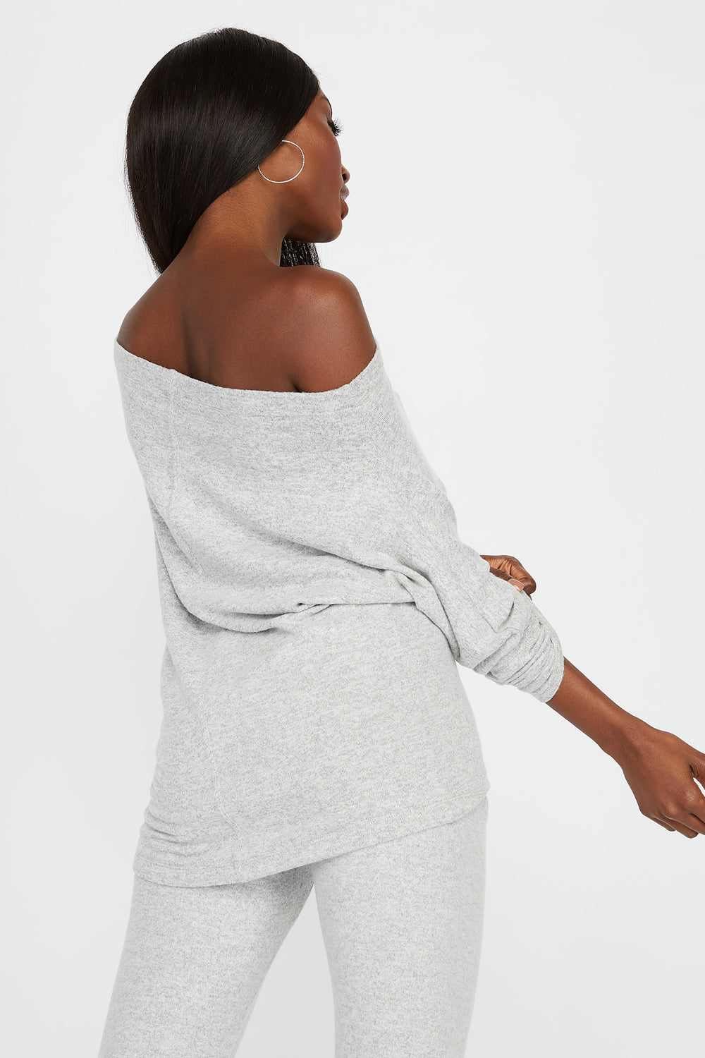 Off the Shoulder Brushed Long Sleeve Heather Grey