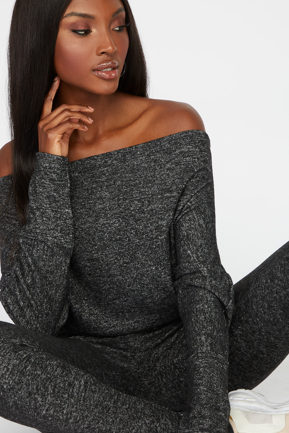 Off the Shoulder Brushed Long Sleeve Light Grey