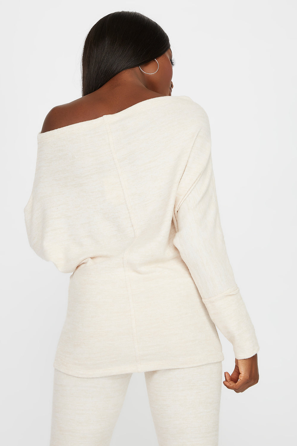 Off the Shoulder Brushed Long Sleeve Oatmeal