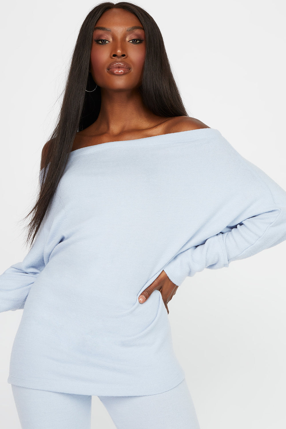 Off the Shoulder Brushed Long Sleeve Light Blue