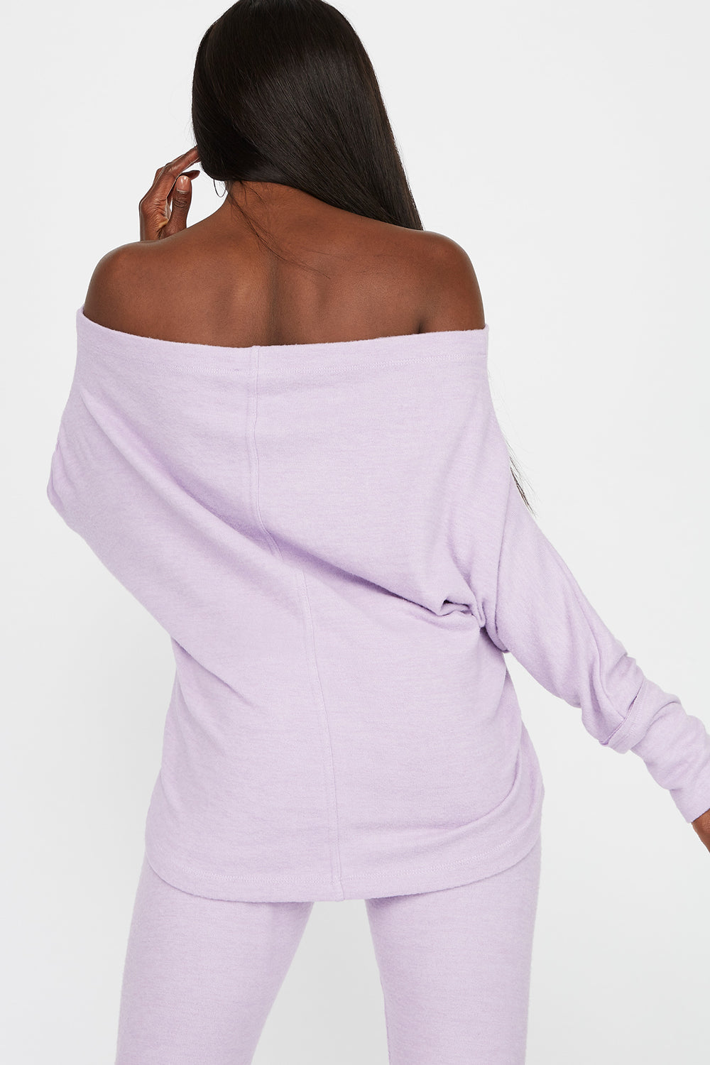 Off the Shoulder Brushed Long Sleeve Lilac
