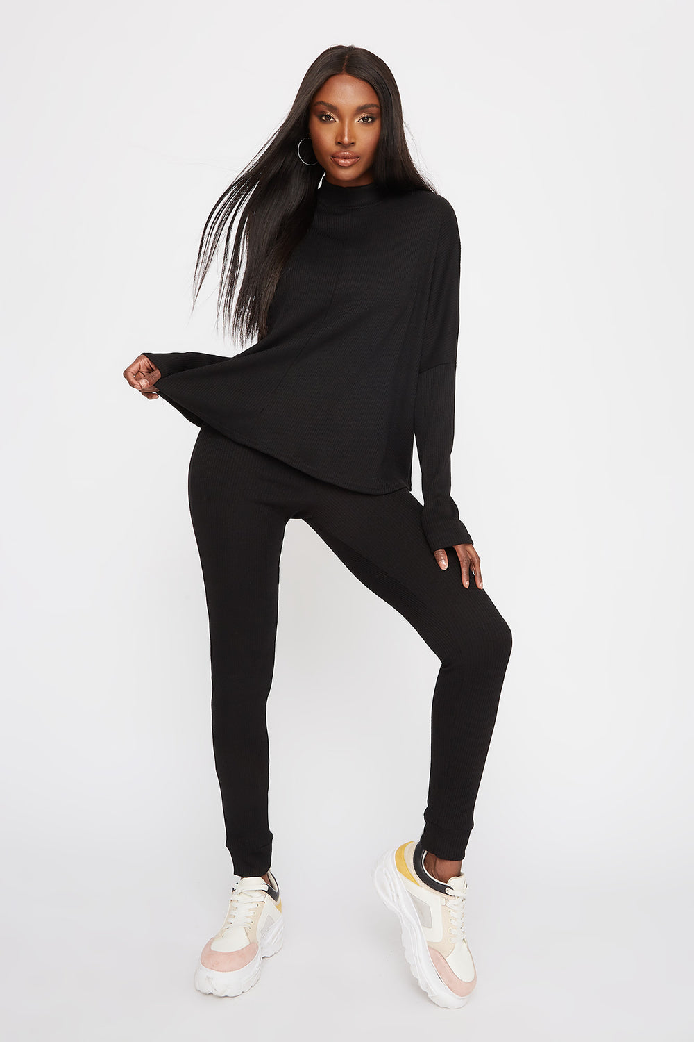 Ribbed Mock Neck Dolman Long Sleeve Black