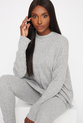 Ribbed Mock Neck Dolman Long Sleeve