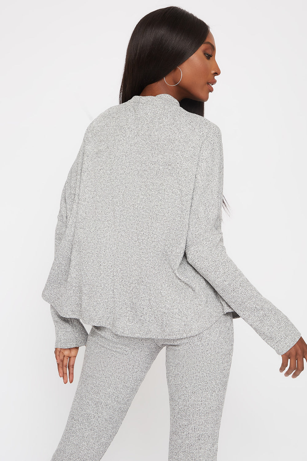 Ribbed Mock Neck Dolman Long Sleeve Heather Grey