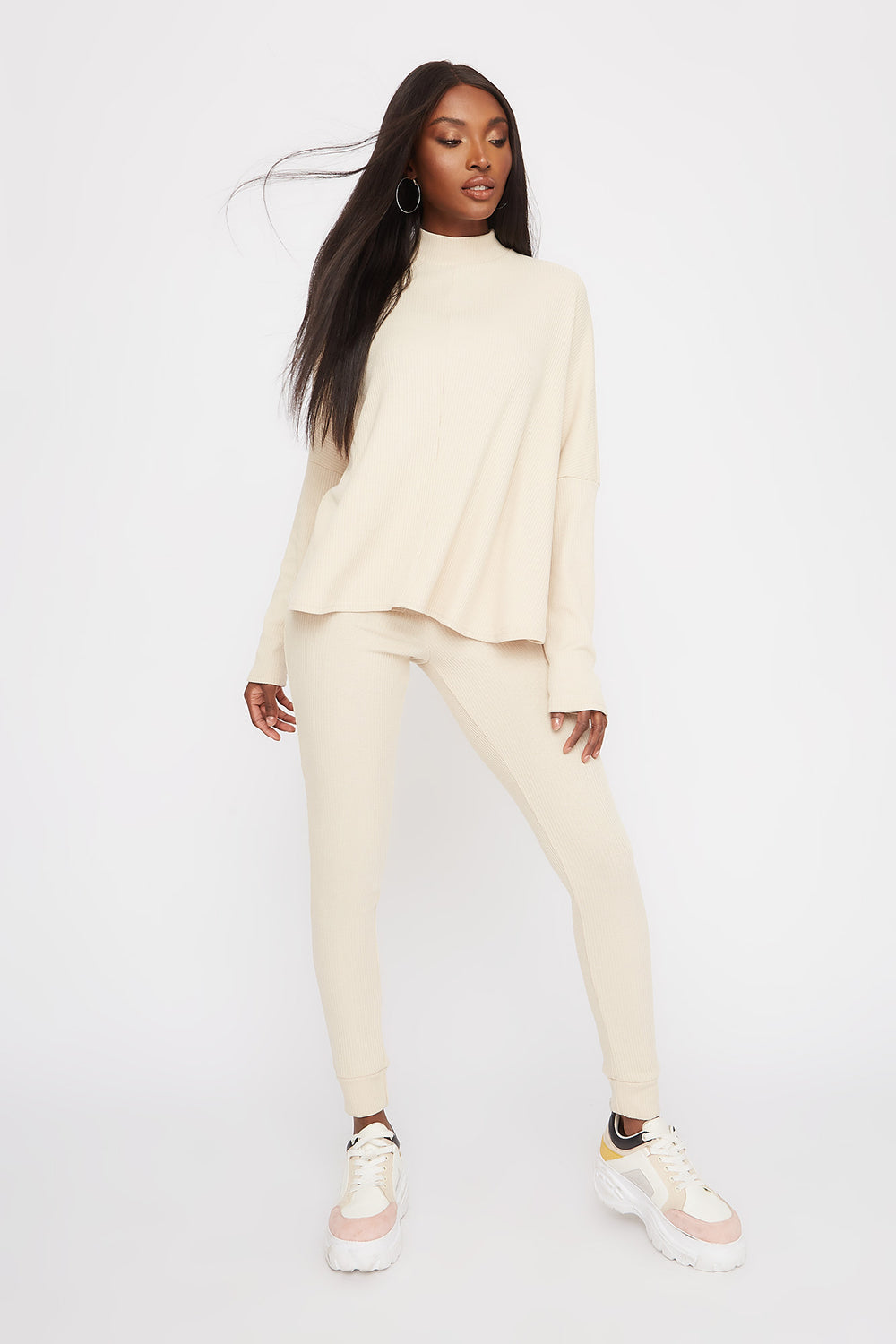 Ribbed Mock Neck Dolman Long Sleeve Oatmeal