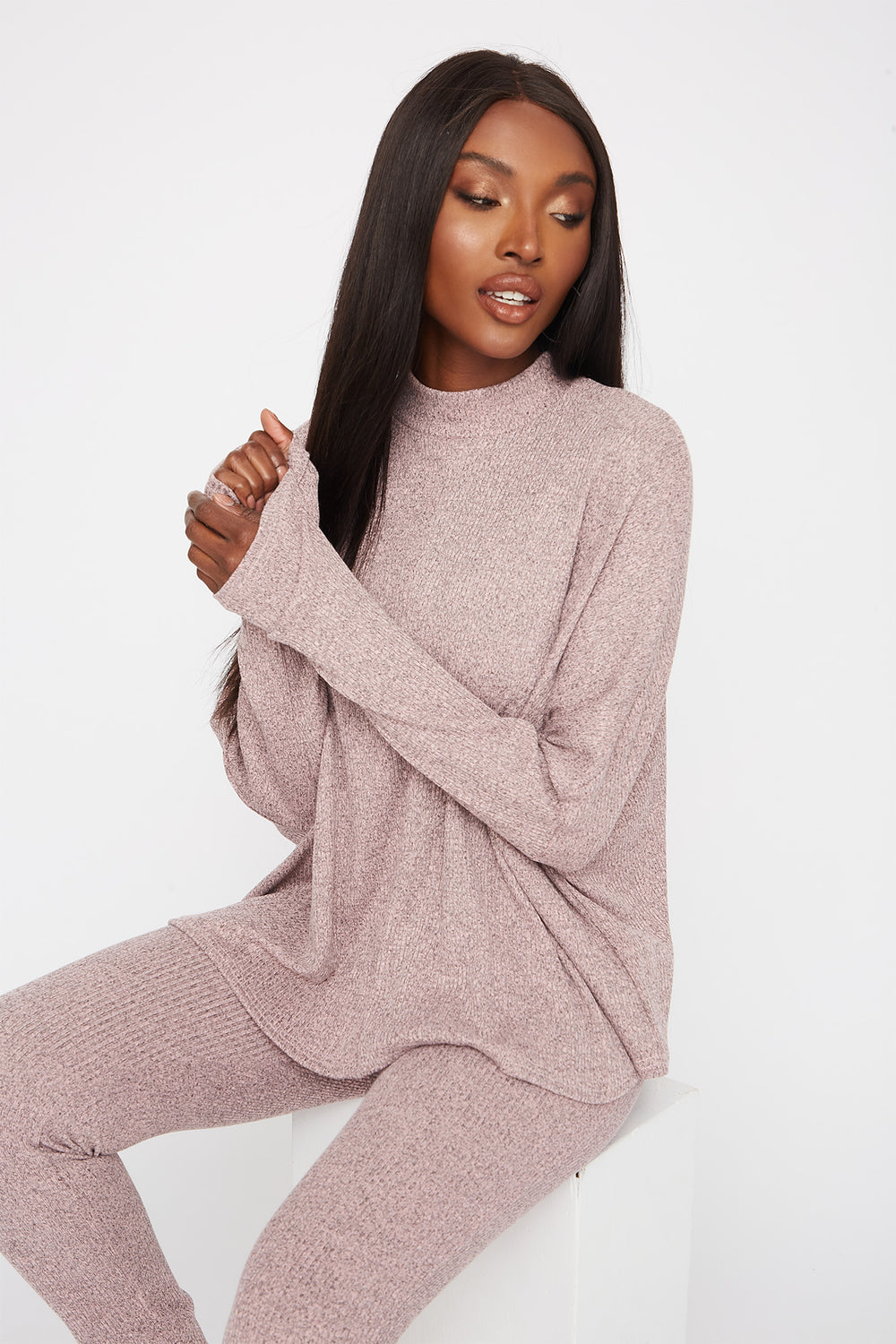 Ribbed Mock Neck Dolman Long Sleeve Dusty Rose