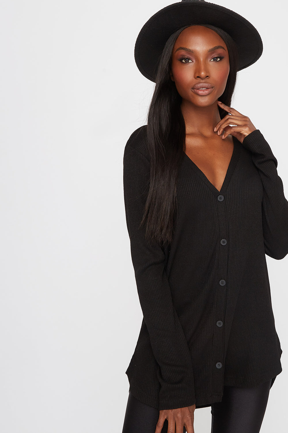 Longline Ribbed Button-Up Cardigan Black