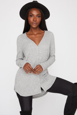 Longline Ribbed Button-Up Cardigan