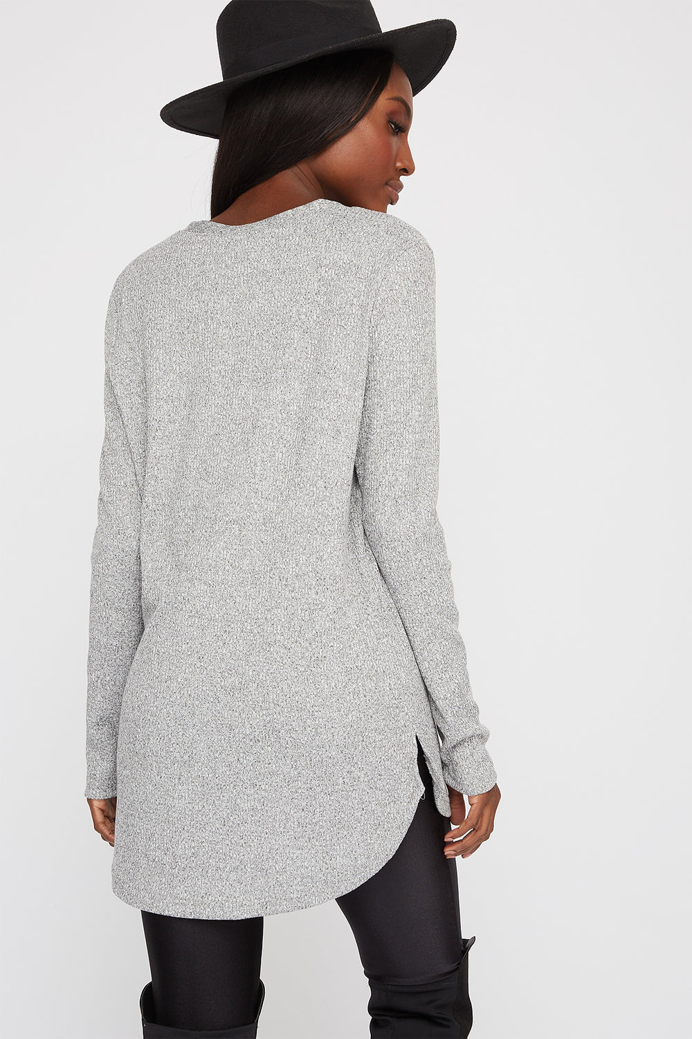 Longline Ribbed Button-Up Cardigan Heather Grey