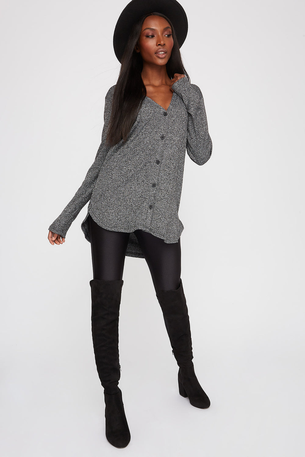 Longline Ribbed Button-Up Cardigan Light Grey