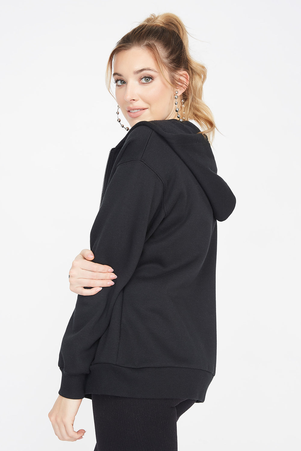 Fleece Zip-Up Longline Hoodie Black