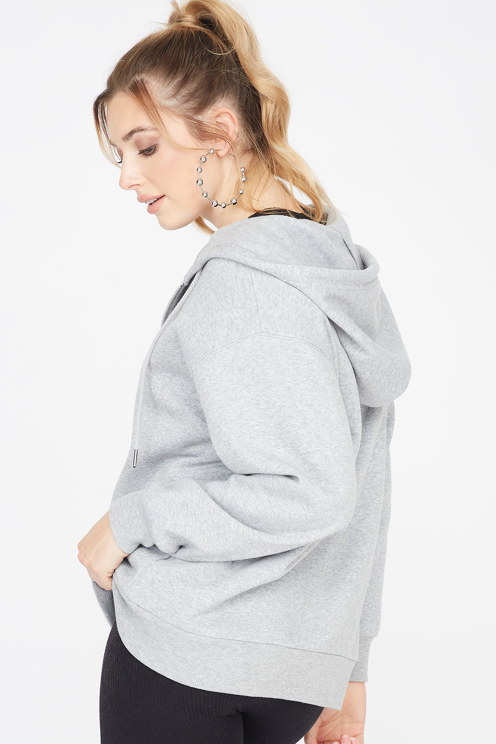 Fleece Zip-Up Longline Hoodie Heather Grey