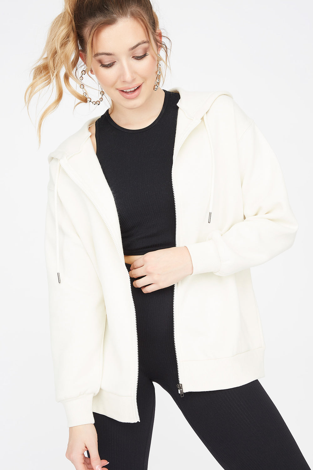 Fleece Zip-Up Longline Hoodie Off White