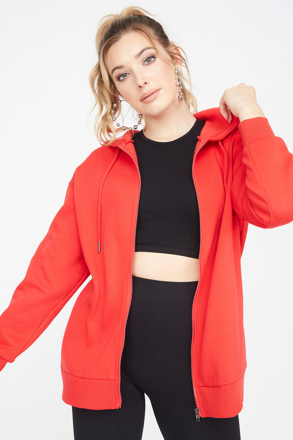 Fleece Zip-Up Longline Hoodie Red