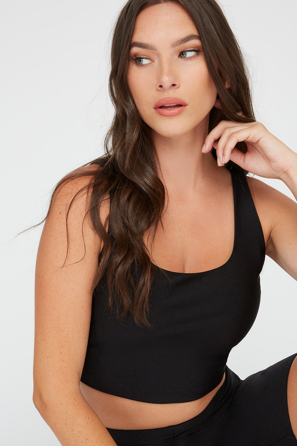 Crystal Cropped Square Neck Tank Black