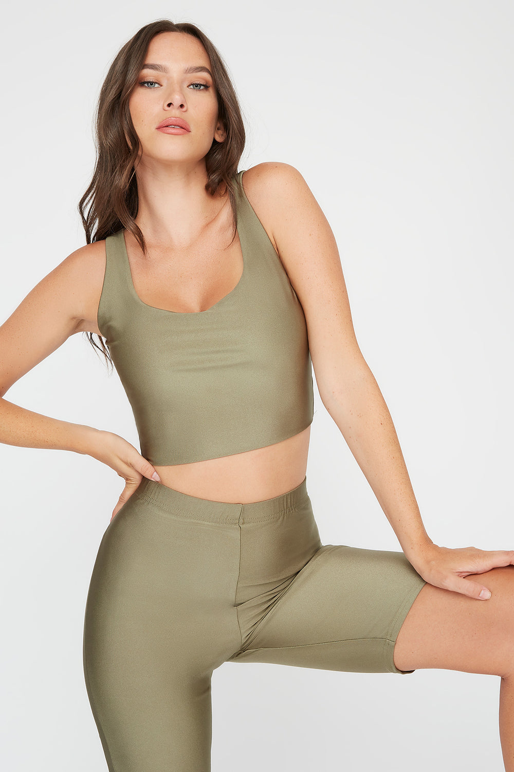 Crystal Cropped Square Neck Tank Dark Green