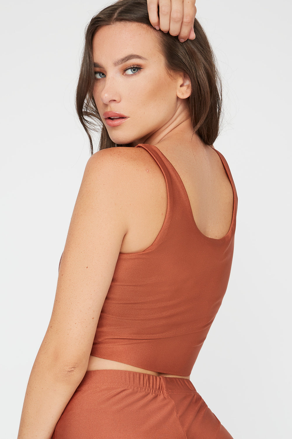 Crystal Cropped Square Neck Tank Brown