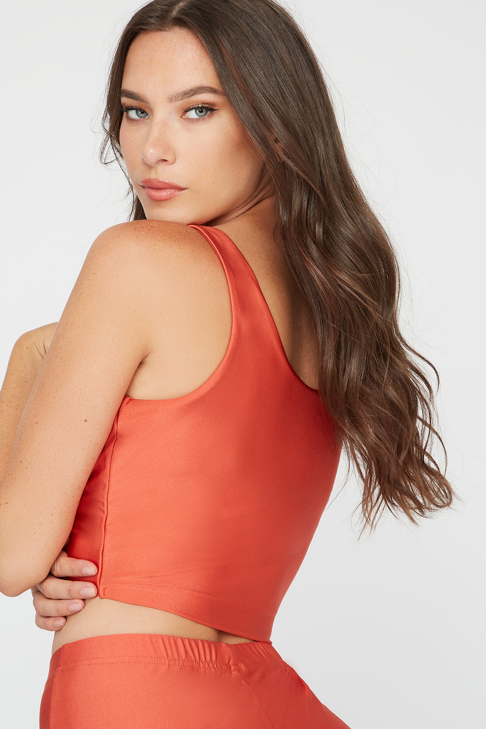 Crystal Cropped Square Neck Tank Rust
