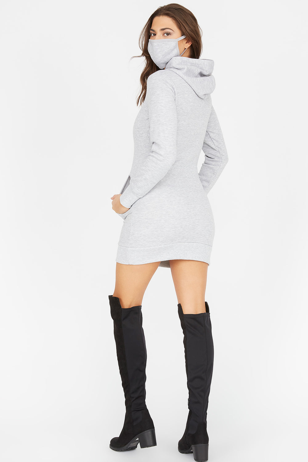 2-Piece Fleece Hoodie Dress With Washable & Reusable Protective Face Mask Set Heather Grey