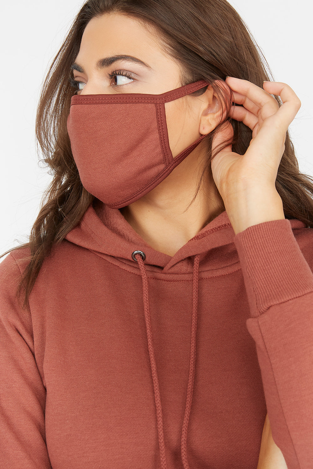 2-Piece Fleece Hoodie Dress With Washable & Reusable Protective Face Mask Set Rust