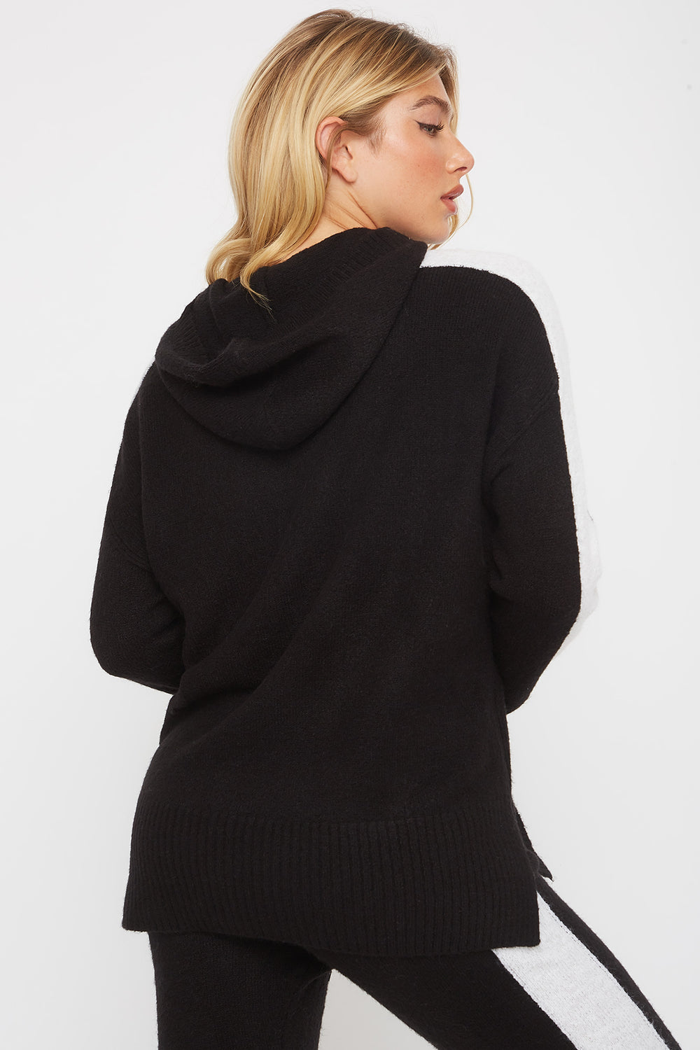 Mossy Drawstring Hoodie Black With White