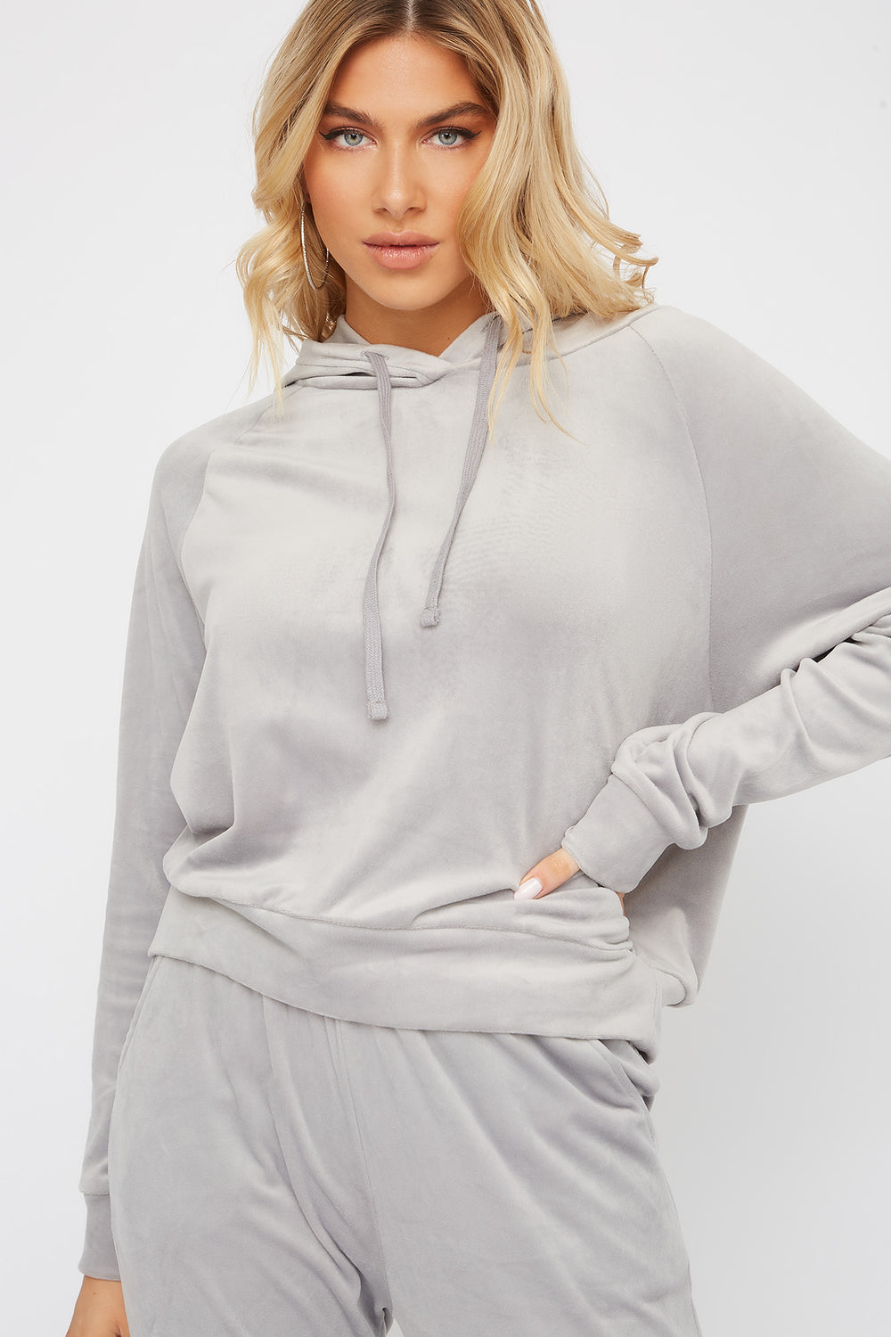 Super Soft Velvet Drawstring Hoodie Heather Grey