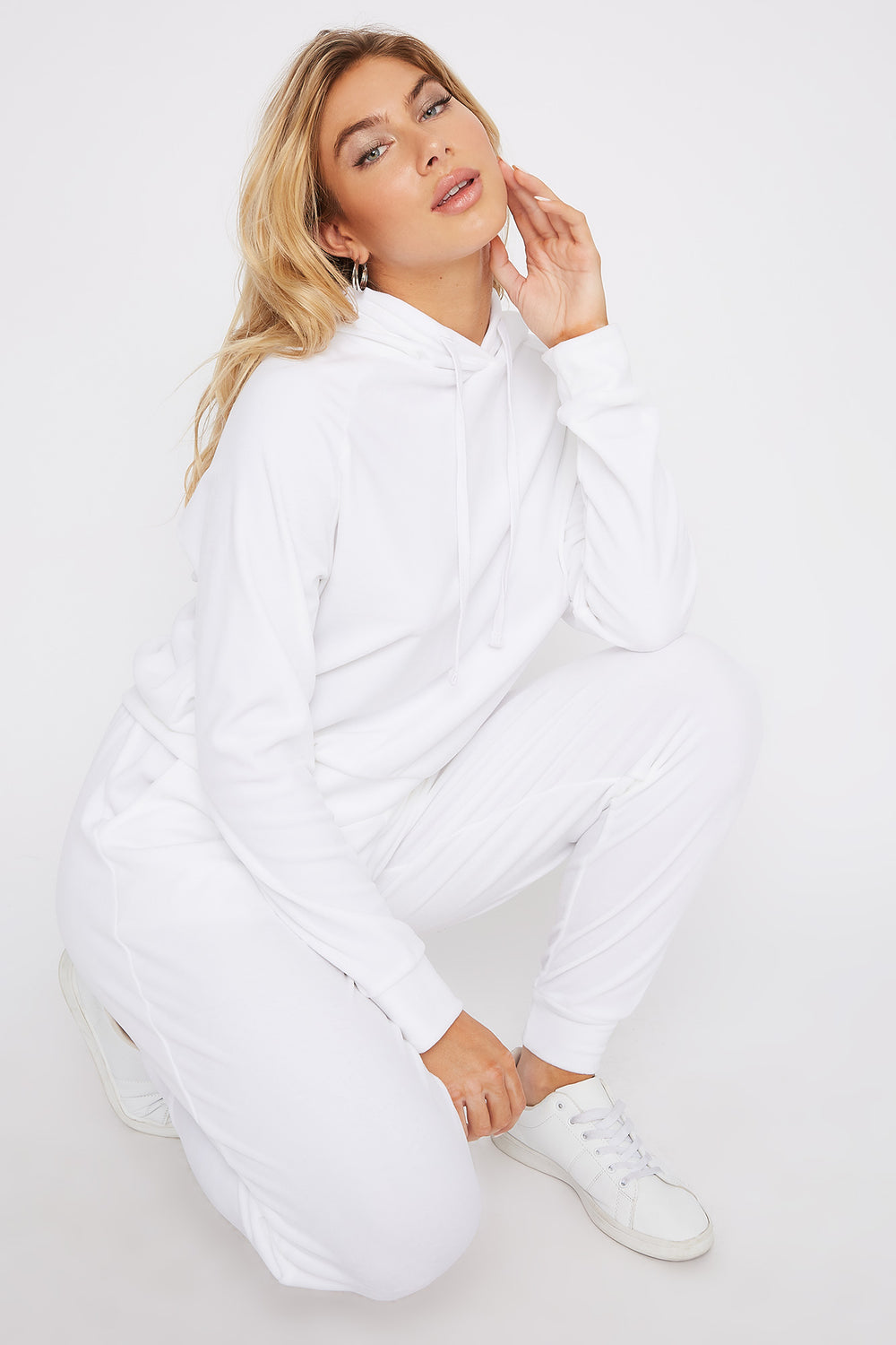Super Soft Velvet Drawstring Hoodie White