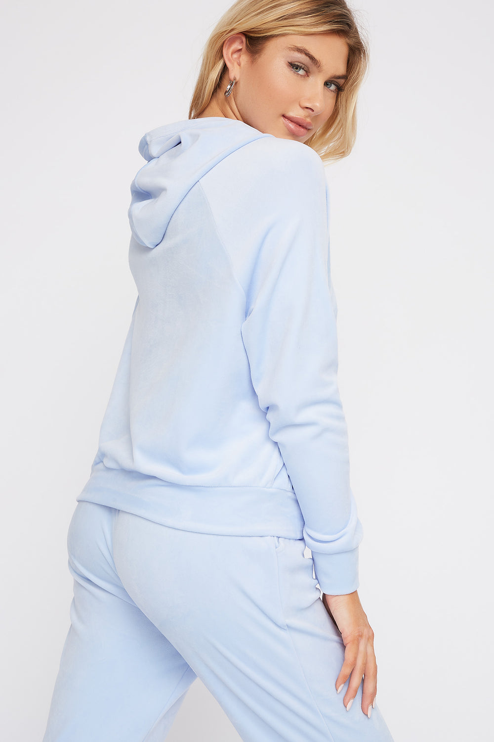 Super Soft Velvet Drawstring Hoodie Light Blue