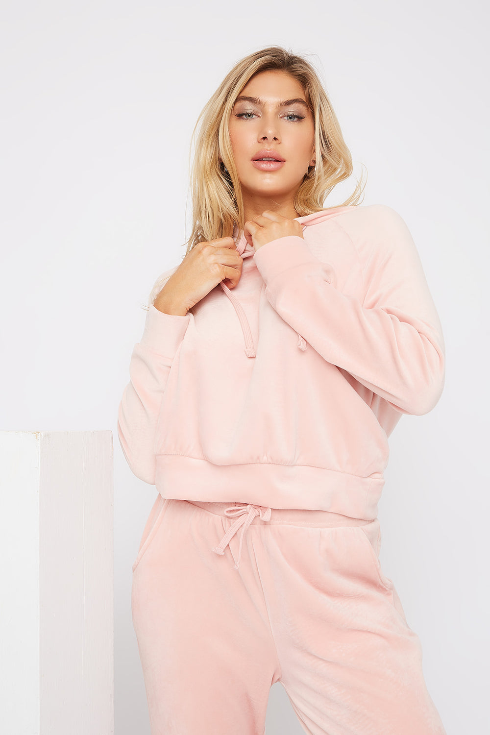 Super Soft Velvet Drawstring Hoodie Dusty Rose