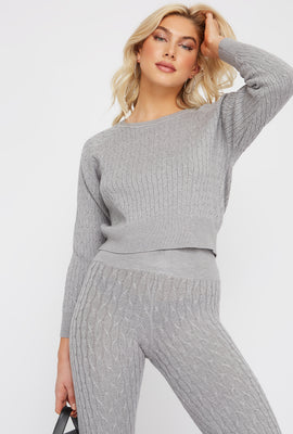 Cable Knit Crew Neck Long Sleeve Sweater