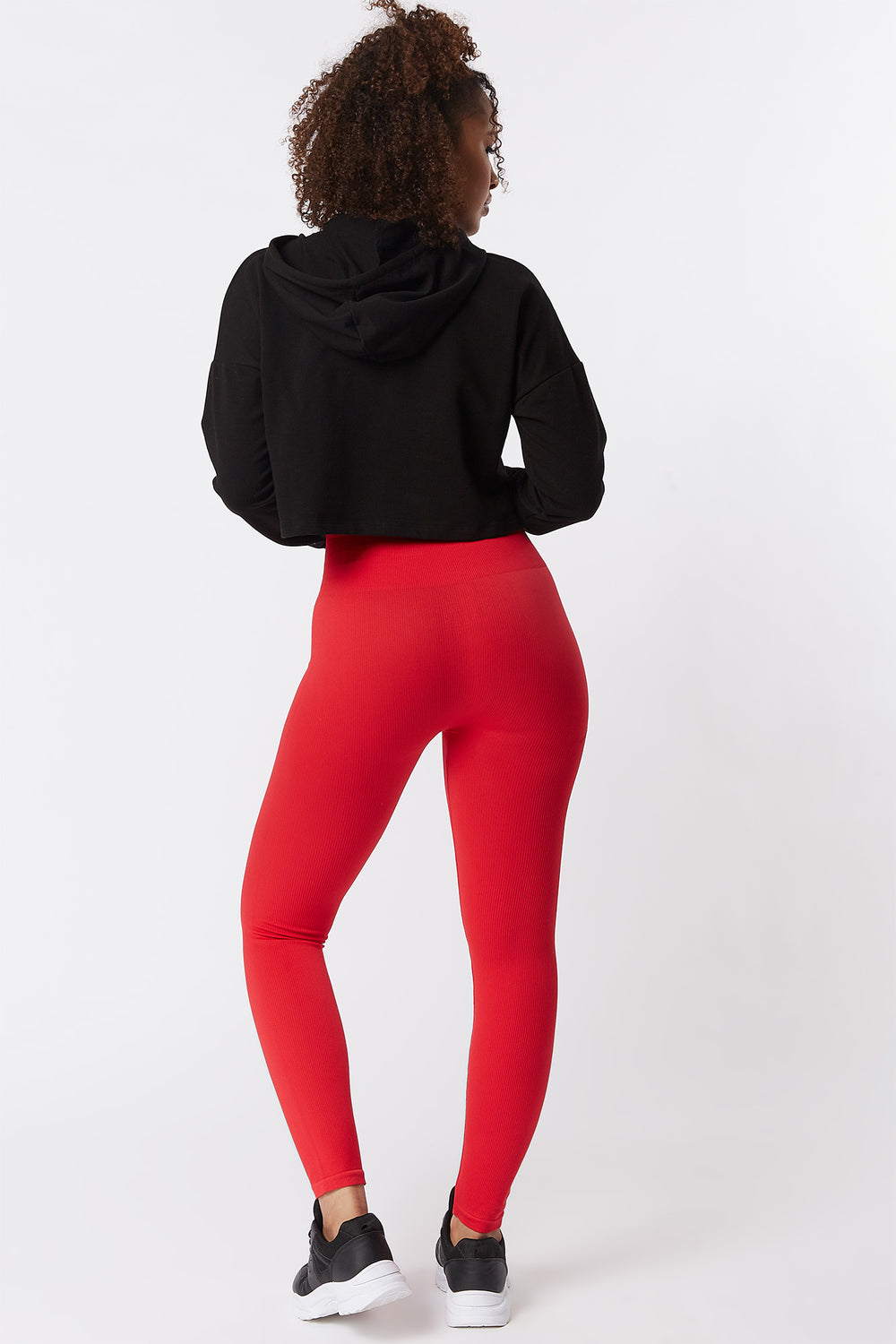 Seamless Ribbed High-Rise Legging Red
