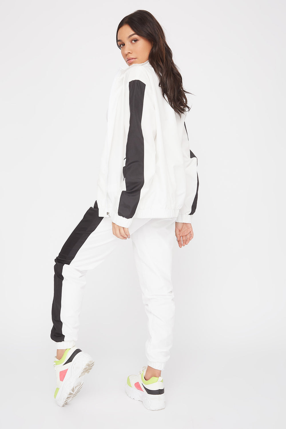 Colour Block Windbreaker Jogger White