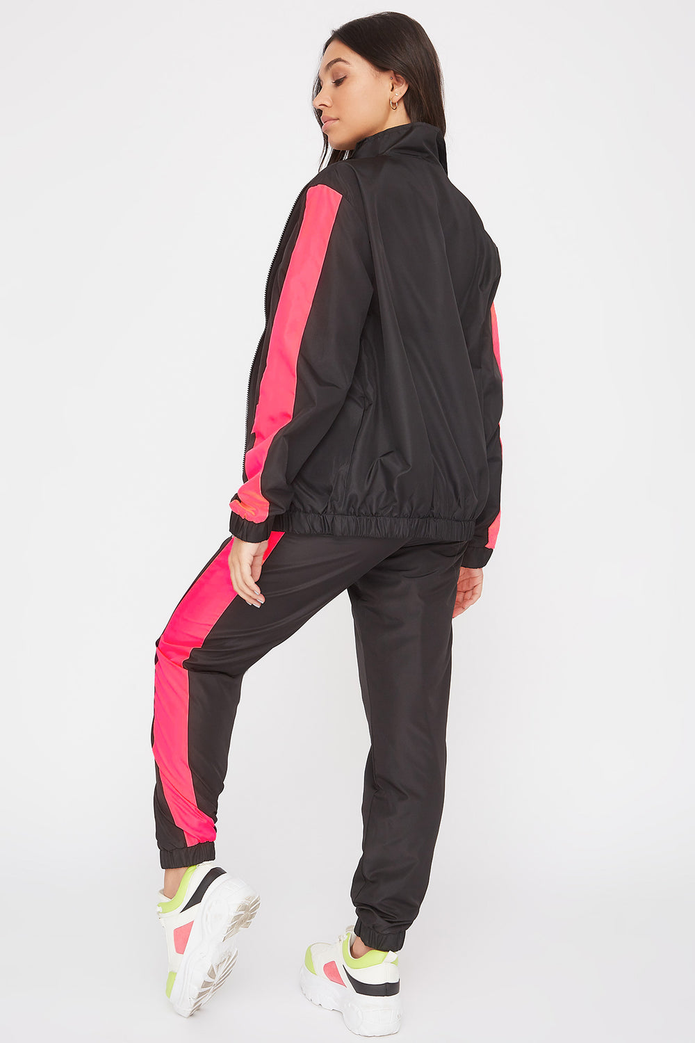 Colour Block Windbreaker Jogger Neon Pink