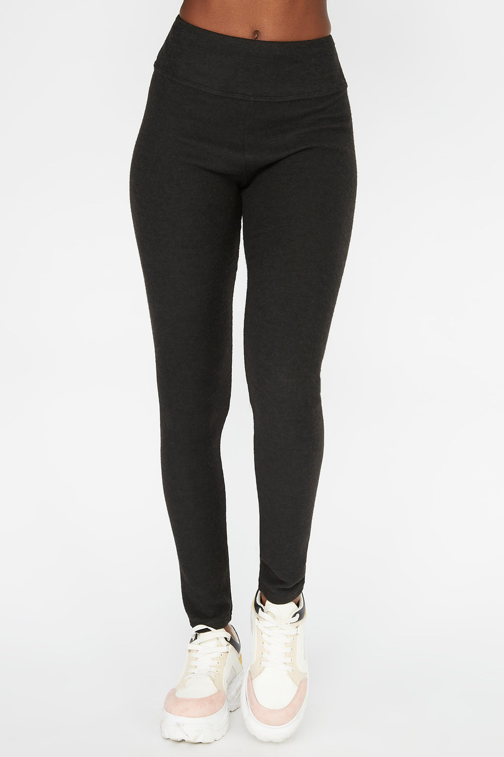 Leggings Cepillados de Cintura Autoajustable Negro