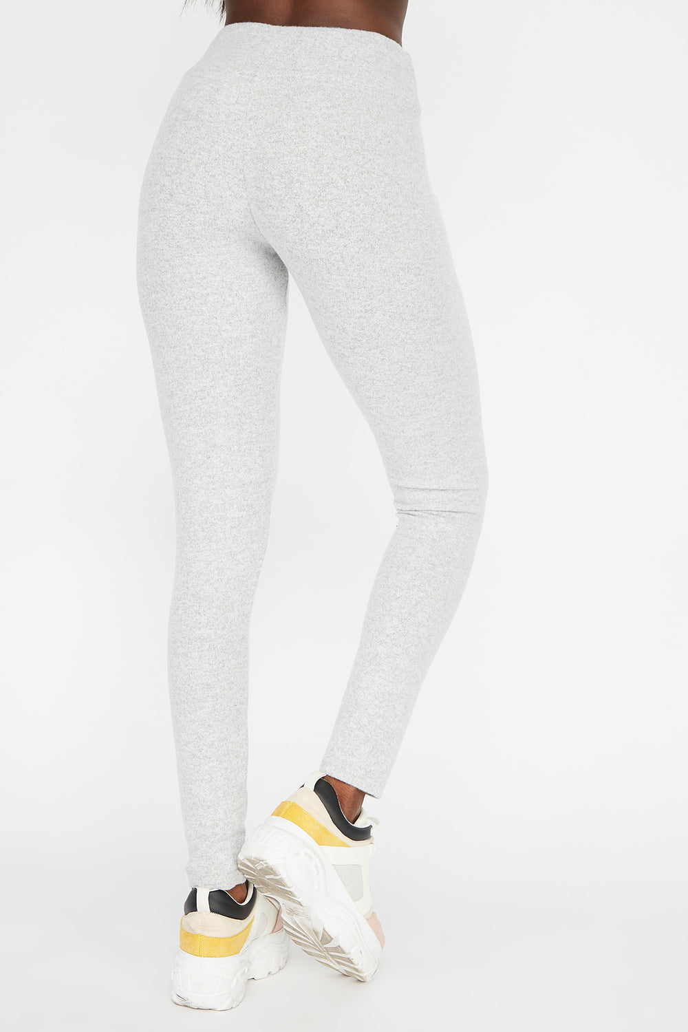 Leggings Cepillados de Cintura Autoajustable Gris
