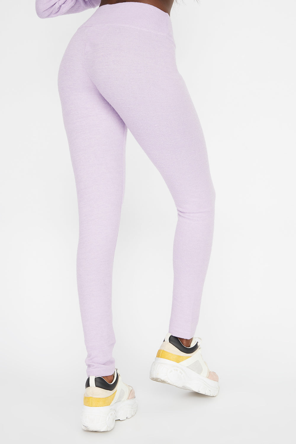 Leggings Cepillados de Cintura Autoajustable Lila