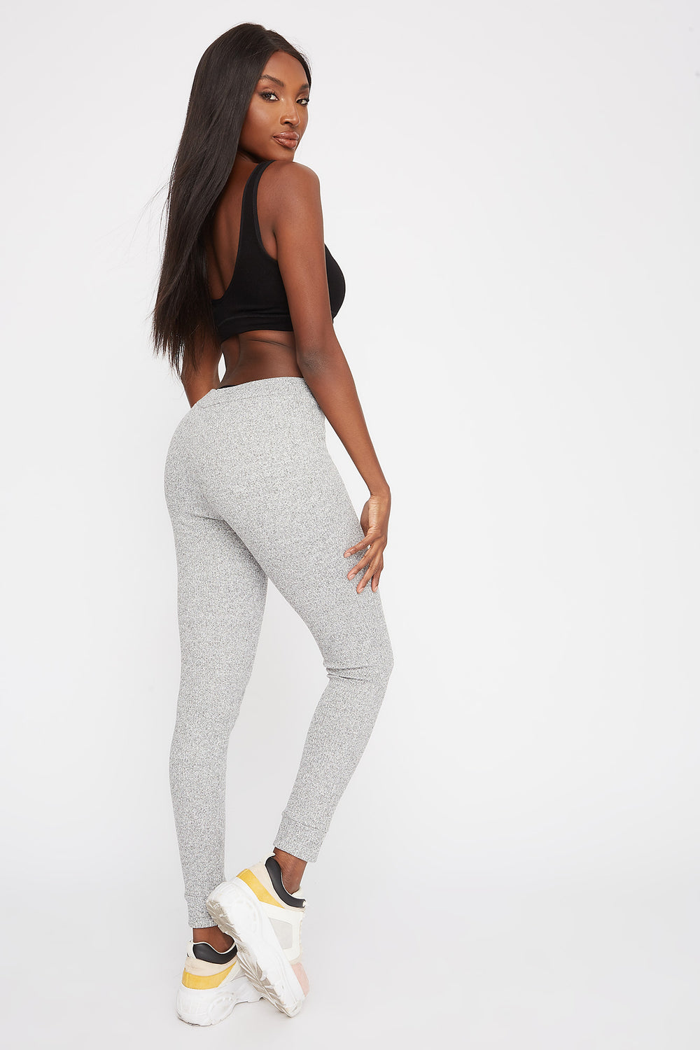 Ribbed High-Rise Pull-On Legging Heather Grey