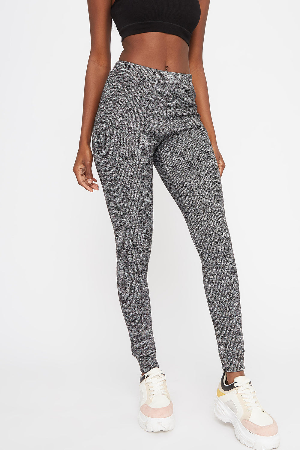 Ribbed High-Rise Pull-On Legging Light Grey