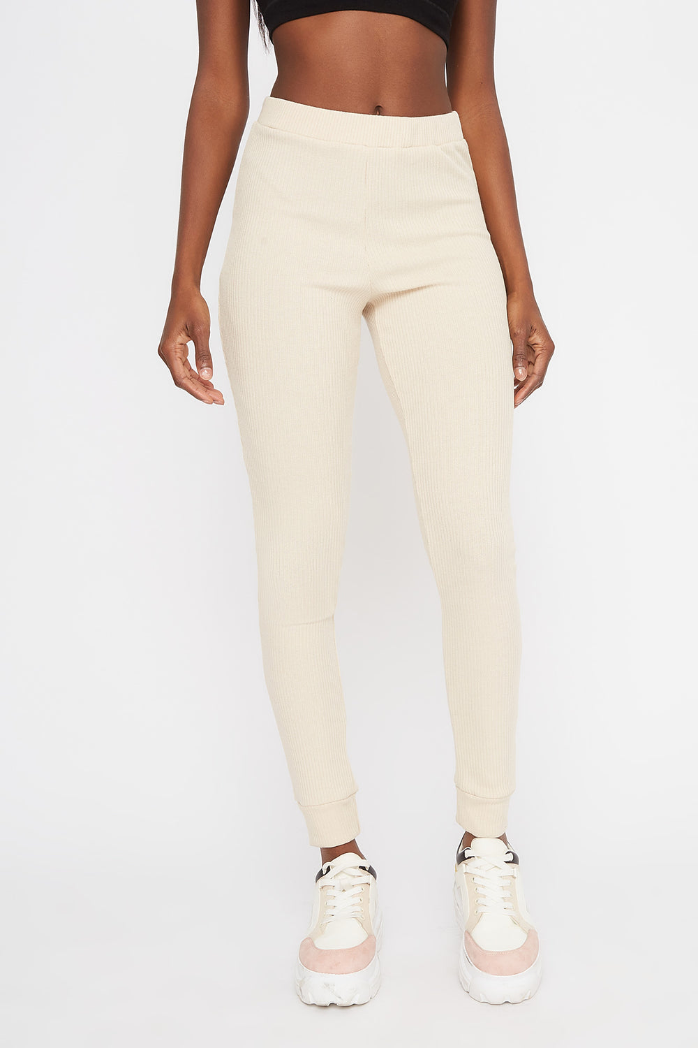 Ribbed High-Rise Pull-On Legging Oatmeal