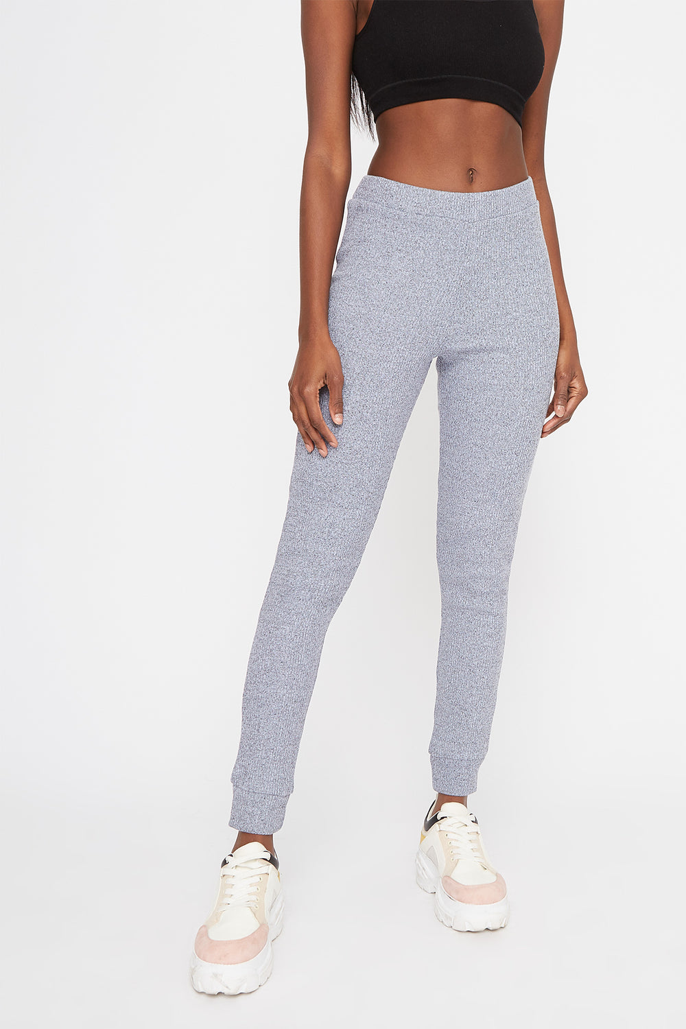 Ribbed High-Rise Pull-On Legging Light Blue