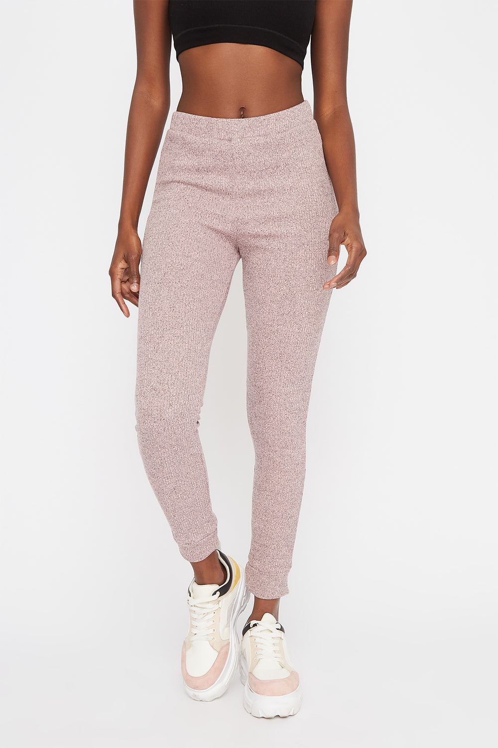 Ribbed High-Rise Pull-On Legging Dusty Rose