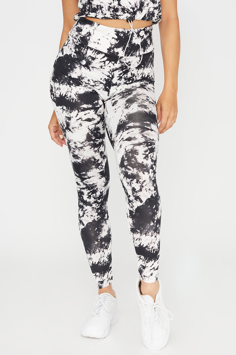 High-Rise Tie Dye Pull-On Legging Black