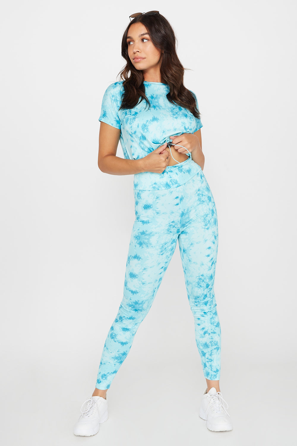 High-Rise Tie Dye Pull-On Legging Blue