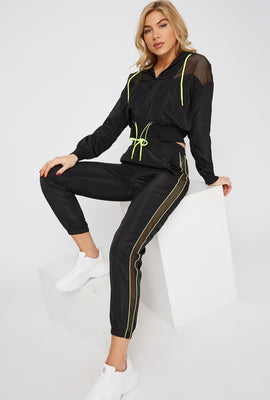 Net Insert Neon Piping Windbreaker Jogger